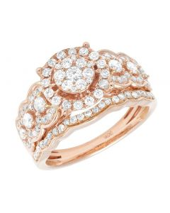 14K Rose Gold Diamond Cluster Round Halo Bridal Ring Set 1 CT