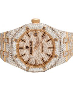 Audemars Piguet Royal Oak 18K Rose Gold Midsize 37MM Diamond Watch 22.35 Ct
