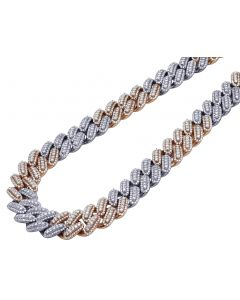 Two Tone 3 Row 3D Prong Diamond Miami Cuban Chain 16MM 34.5CT