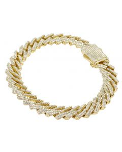 "Yellow Gold Diamond Miami Cuban Link Bracelet 11 MM 8.5"" 6.75 CT"