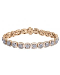 Rose Gold Square Flower Cluster Diamond Halo Bracelet 9.5MM 7.25CT