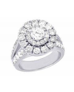 14K White Gold Real Diamond Solitaire Halo Engagement Wedding Ring 2 3/4 Ct 15MM