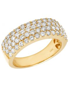 Mens 14K Yellow Gold 4 Row Real Diamond Ring Band 2.5 CT
