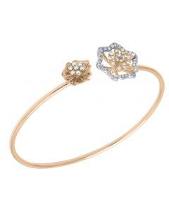 14K Rose Gold Real Diamond Ladies Flower Flex Bangle 0.89 CT