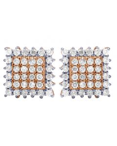 10K Rose Gold Real Diamond Square Cluster Earrings 9mm 0.60 CT