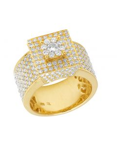 Mens 10K Yellow Gold Square Iced Out Real Diamond Pinky Ring 3.5 CT