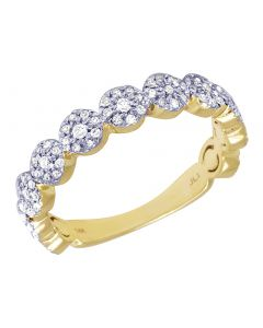 Ladies 14K Yellow Gold Flower Cluster Wedding Band 4MM 0.50 CT