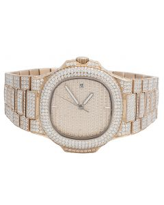 Mens Rose Steel Iced Out 40MM PP Simulated Diamond Watch