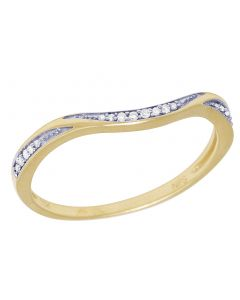 Yellow Gold Wave 1 Row Enhancer Ladies Band 0.05 CT