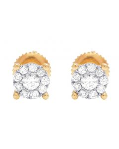 14K Yellow Gold Diamond Round Cluster Stud Earring 0.33 Ct 5.5MM