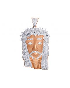 Diamond Jesus Face Matt Finish 1.0 Ct Pendant in 10K Rose Gold 2.5""