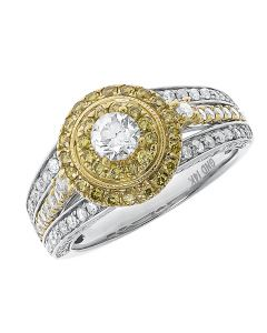 Round Diamond Solitaire Ring with Canary Diamonds (1.47 ct)