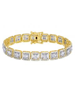 10K Yellow/ White Gold 9.5Ct Diamond 10MM Halo Baguette Bracelet 8.5""