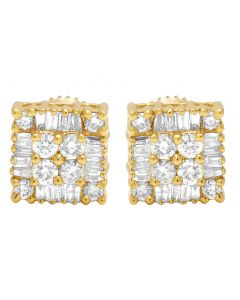 10K Yellow Gold Real Diamond Square Baguette Earrings 7mm 0.54 CT