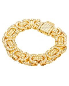 Solid 10K Yellow Gold Diamond Byzantine Designer Bracelet 21.5 CT 17MM 9""