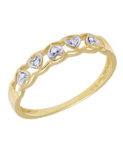 Ladies Yellow Gold Openwork Heart Band 0.02 CT