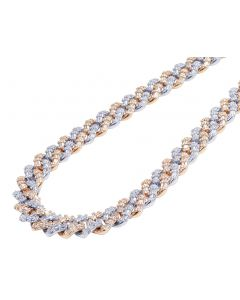"""10K Two Tone White/Rose Gold Real Diamond Baguette Cuban Chain 21.65CT 12MM 18"""""""