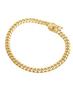 10K Yellow Gold Semi Hollow Miami Cuban Box Clasp Bracelet 5MM 8-9 Inches