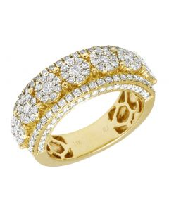 14K Mens Yellow Gold Flower Cluster Diamond Pinky Ring Band 9MM 2CT