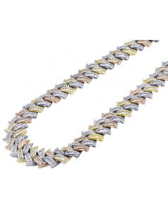 Tri Color Baguette Diamond Pronged Spiked Miami Cuban Necklace 16MM 18-21""
