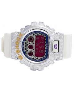 Unisex G Shock White Glossy 6900 Canary & White Diamond Watch 3.0 Ct