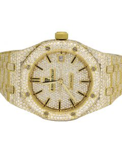 Audemars Piguet Royal Oak 18K Yellow Gold 37MM Diamond Watch 25.75 Ct