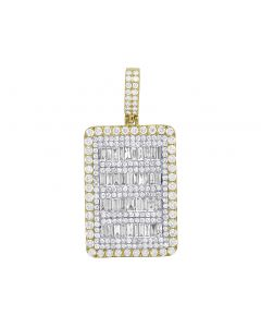 Men's 10K Yellow Gold Real Baguette Diamond Bar Pendant 4 CT 1.5""