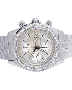 Custom Breitling A13356 Evolution Chronomat 44MM Diamond Watch 2.5 Ct