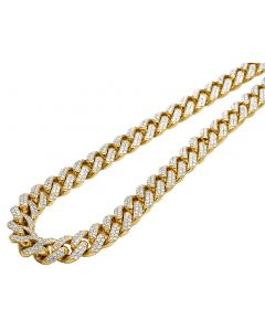 Mens 10K Yellow Gold Miami Cuban Choker Lock Diamond Necklace Chain 11mm 26""