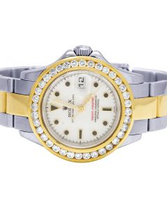 Ladies Rolex Yacht Master 18K/ Steel 169623 29MM Diamond Watch 3.0 Ct
