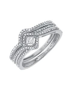 Princess Solitaire Ring Set in White Gold (0.33 ct)