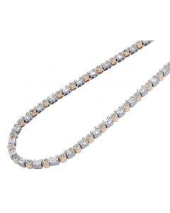 14K Rose/ White Gold 7.75CT Diamond 4MM Baguette Cluster Necklace 20""