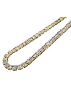 "14K Yellow Gold VS Diamond 8mm Baguette Invisible Set Tennis Chain 21"" 33.5 CT"
