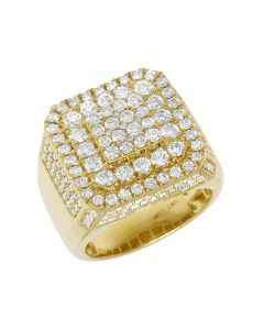 Mens Yellow Gold 3 Tier Square Diamond Pinky Ring 19MM 3.5CT