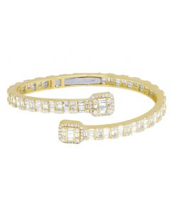 14k Yellow Gold Diamond Baguette Bangle 7.1CT