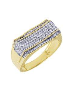 Men's Yellow Gold Wave Concave Diamond Pave Pinky Ring 0.4 CT