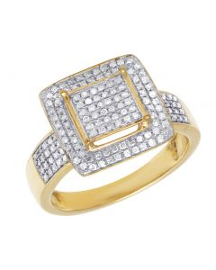 Mens 10K Yellow Gold Pave Real Diamond Ring .50 CT