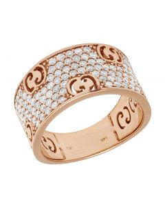 14K Rose Gold interlocking GG Band 12MM 1.5 CT