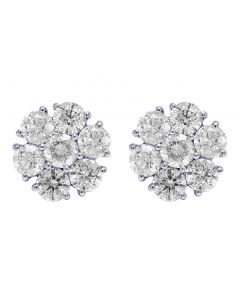14K White Gold 4.75 Ct Diamond 12MM Flower Cluster Earrings