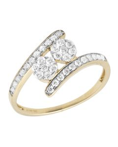 Ladies 14K Yellow Gold Real Diamond Clusters Engagement Ring 0.50ct