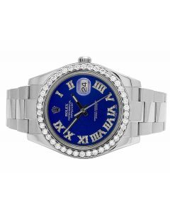 Rolex Datejust II 116300 Blue Roman Dial Diamond Watch (4.5 Ct)