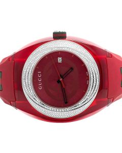 Mens Analog Gucci Sync Red 46MM Diamond Watch YA137103 (1.25 Ct)