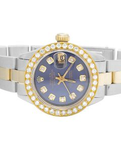 Ladies Rolex Datejust 18K/ Steel Oyster 26MM Blue Dial Diamond Watch (2.0 Ct)