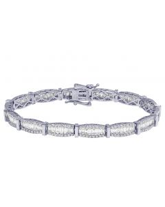 "14K White Gold 3 Row Designer Ladies Bracelet 7.33"" 6.3 CT"
