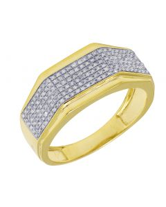 Men's Yellow Gold Octagon Style Diamond Pave Pinky Ring Band 0.4 CT
