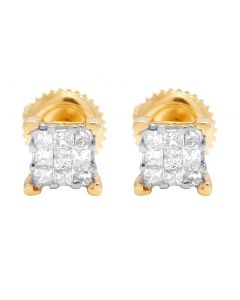 Ladies 14K Yellow Gold Genuine Diamond Square Stud Earring 0.33Ct 3MM