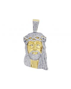 10K Yellow Gold Real Diamond Jesus Head Pendant 3.0 CT 2""