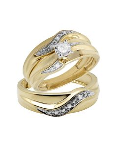 10K Yellow Gold Real Diamond Solitaire Trio Wedding Ring Set 0.25ct