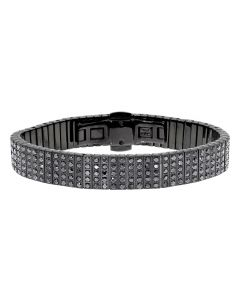 Black Ion Stainless Steel 13mm Bracelet with Diamonds (8 ct)