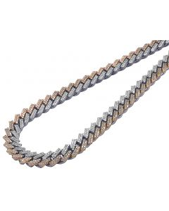 """Two Tone Prong 2 Row Miami Cuban Necklace 24.90 CT 13 MM 22.5"""""""